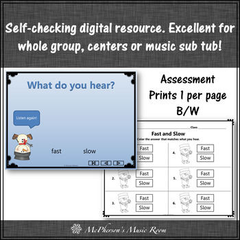 Winter Music: Tempo Fast or Slow Interactive Music Game + Assessment {snowman}