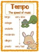 Tempo Terms Poster - Color, black & white, PLUS editable versions
