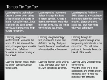 Tempo Tic Tac Toe: A differentiation vocabulary powerpoint