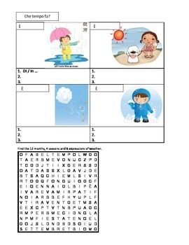 Tempo (Weather in Italian) worksheet 1