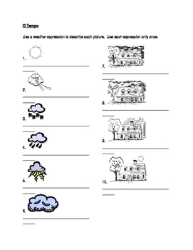 Tempo (Weather in Portuguese) worksheet