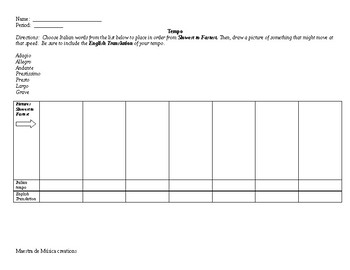 Tempo Worksheet