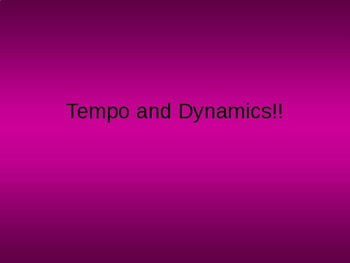 Tempo and Dynamics Jeopardy