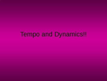 Tempo and Dynamics Music Jeopardy