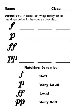Tempo and Dynamics Worksheets