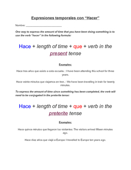 """Temporal Expressions with """"Hacer"""" - Expresiones Temporales con """"Hacer"""" - Spanish"""