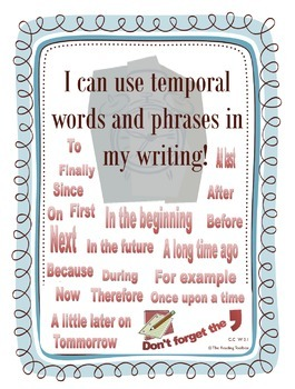 Temporal Words and Phrases Word Wall for Third Grade Writi