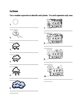 Temps (Weather in French) worksheet 3