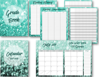 Sparkling Teal Editable Lesson Planner / Binder 2018-2019 -Free Yearly Updates