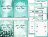 Sparkling Teal Editable Lesson Planner / Binder 2018-2019