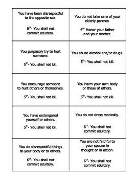 Ten (10) Commandments Game