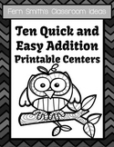 Ten Addition Quick and Easy Autumn Buddies Themed Printable Centers