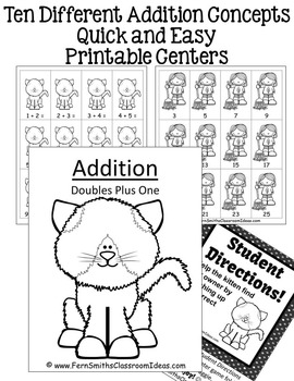 Addition Quick and Easy to Prep Math Printable Center Games Bundle