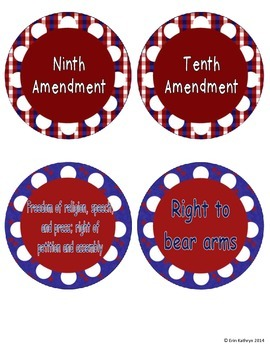 Ten Amendments of the Bill of Rights Matching Game Activity