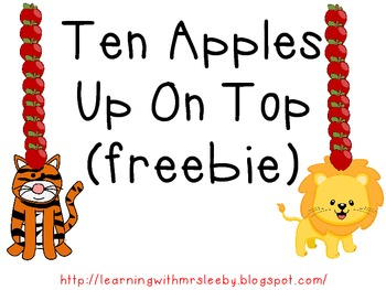 Ten Apples Up On Top Silly Hat FREEBIE