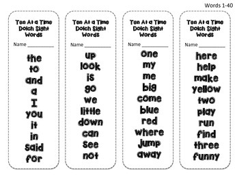 Ten At a Time Dolch Sight Words