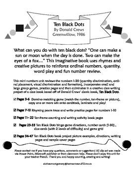 Ten Black Dots math and literacy mini-unit