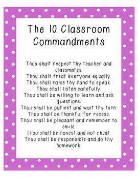 Ten Classroom Commandments