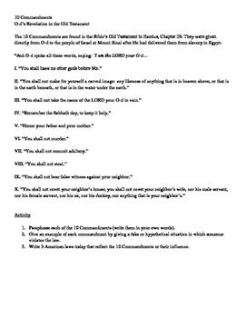 Ten Commandments Activity