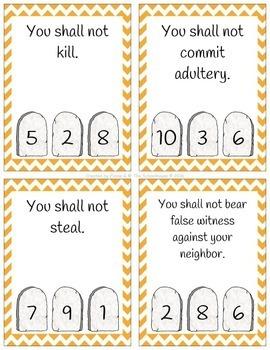 Ten Commandments Clip Cards - Catholic