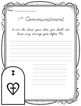 Ten Commandments Copywork in Cursive - Catholic