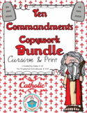 Ten Commandments Copywork in Cursive and Print BUNDLE - Catholic