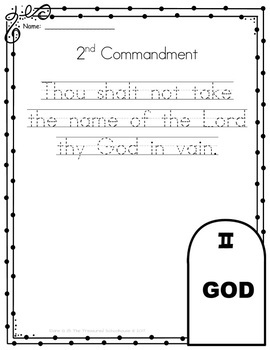 Ten Commandments Copywork in Print - Catholic