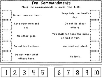 photo relating to Ten Commandments Printable Activities identified as 10 Commandments Slice Paste Worksheets for Small children - Christian