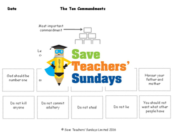 Ten Commandments Lesson plan and Worksheets