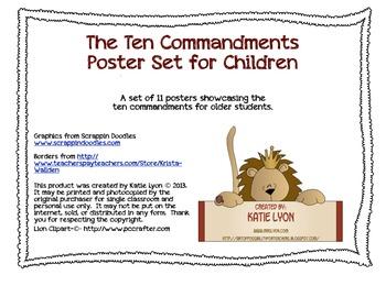 Ten Commandments Poster Set for Older Children