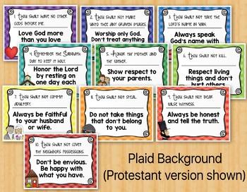 Ten Commandments Posters Catholic & Protestant Versions
