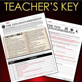 Ten Commandments Primary Source Analysis (10 Commandments)  (World Religions)