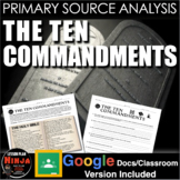 Ten Commandments Primary Source Analysis (10 Commandments)  (World Religions)