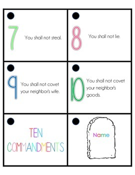 Ten Commandments Ringed Practice Cards