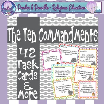 Ten Commandments - 42 Task Cards and More, Moses