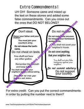 Ten Commandments Worksheets
