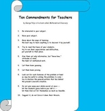 Ten Commandments for Teachers by George Polya