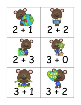 Ten Different Sets of Addition Flash Cards to five