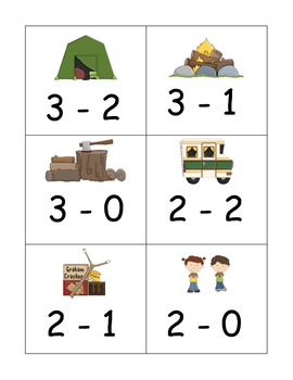 Ten Different Sets of Subtraction Flash Cards from five