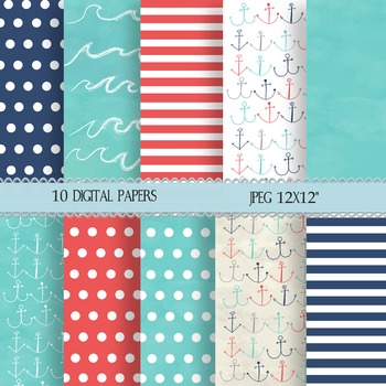 Ten Digital, Nautical Paper for Power points, Backgrounds, and More