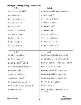 Ten Digits Challenge - High School PDF