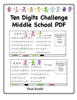 Ten Digits Challenge - Middle School PDF