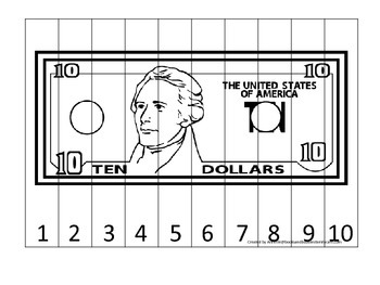 Ten Dollar Bill 1-10 Number Sequence Puzzle. Financial education for preschool.