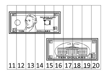 Ten Dollar Bill 11-20 Number Sequence Puzzle. Financial education for preschool.