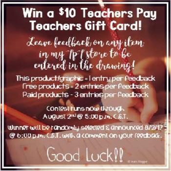 Ten Dollar Gift Card (for Teachers Pay Teachers) Giveaway! BTS2017