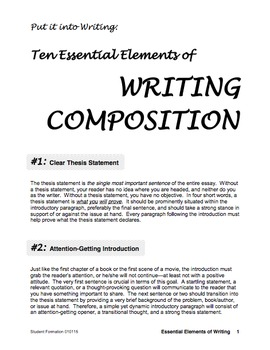 Ten Essential Elements of Writing Composition