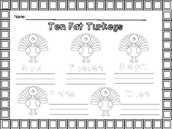 Ten Fat Turkeys - Number words