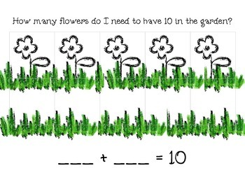 Ten Flowers in the Garden-Kindergarten Making 10 on a Ten frame activity