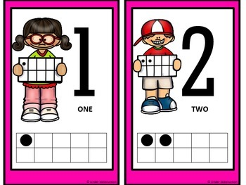 Ten Frame (0-10); Bright Pink Cute Kids Ten Frame