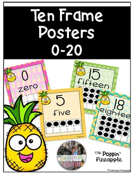Ten Frame Posters 0-20 in Tropical Pineapple Theme